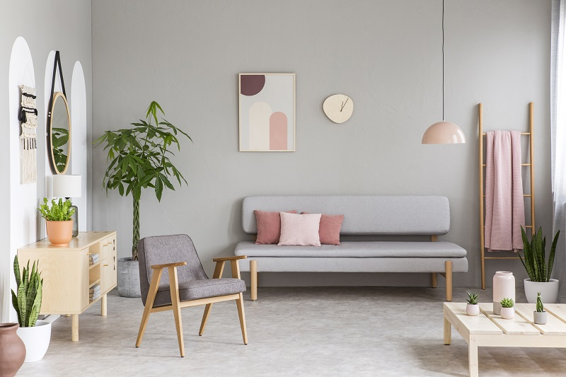 Grey and millenial pink living room 20